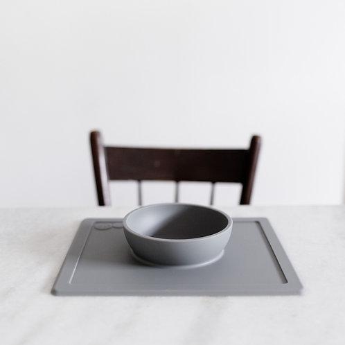 Set de table et bol antidérapant gris clair