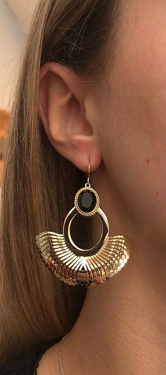 "Boucles d'oreilles ""Crochet"" noir"
