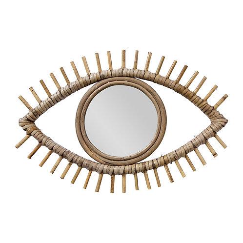 """Miroir """"Œil"""" rotin naturel"""