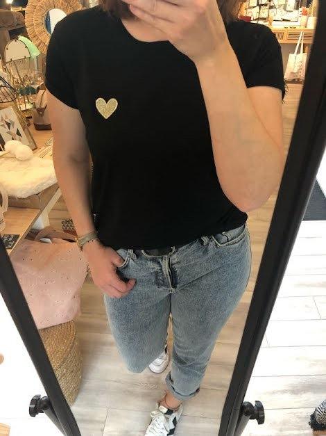 T-shirt coeur noir