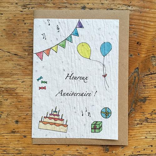 """Carte à planter """"Heureux anniversaire"""""""