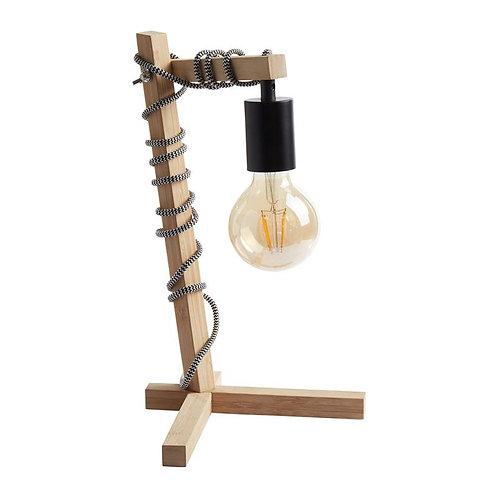 Lampe en bois avec fil enroulé