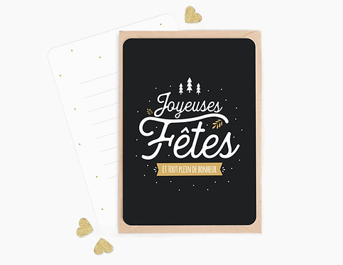 """Carte à message """"Joyeuses fêtes"""""""