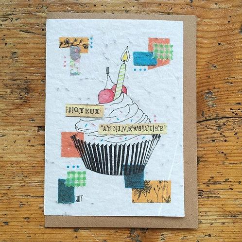 "Carte à planter ""Anniversaire cupcake"""