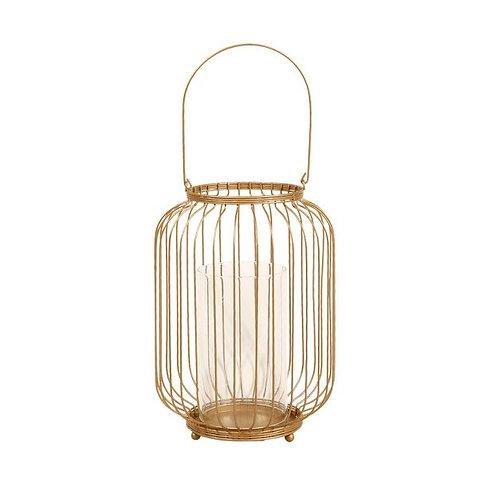 """Lanterne cylindrique """"Métal"""" dorée"""