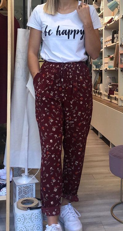Pantalon fleuri bordeaux