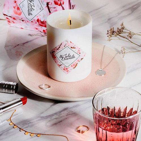 """Bougie parfumée """"Fleur de cerisier"""" avec collier argent"""