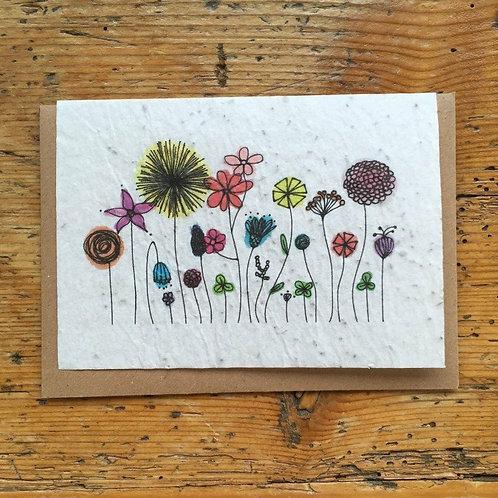 """Carte à planter """"Fleurs multicolores"""""""