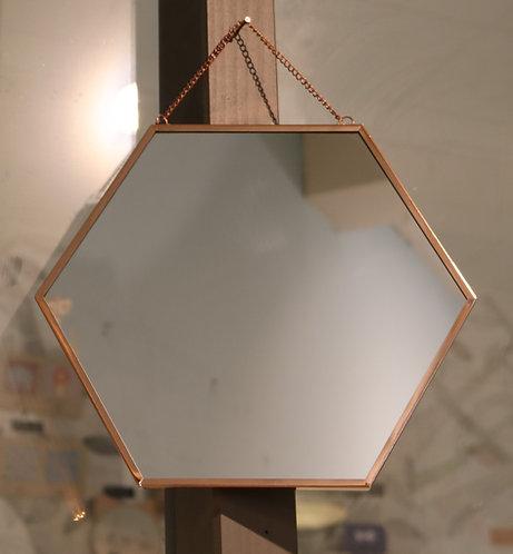 Miroir hexagonal métal cuivre