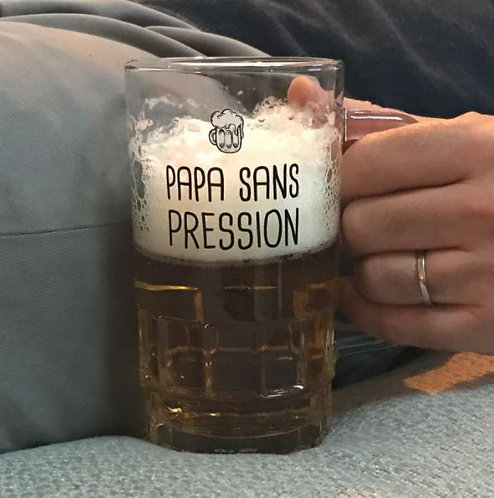 """Chope à bière """"Papa sans pression"""""""