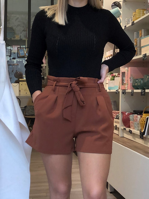 Short avec ceinture brun