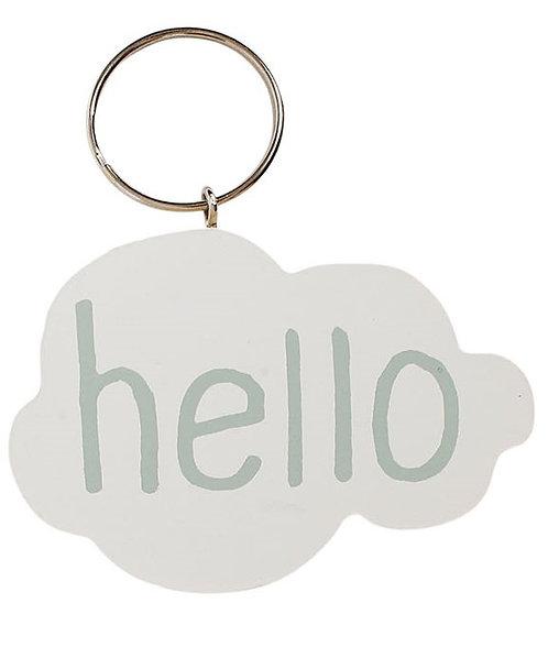 """Porte clés nuage """"Hello"""""""