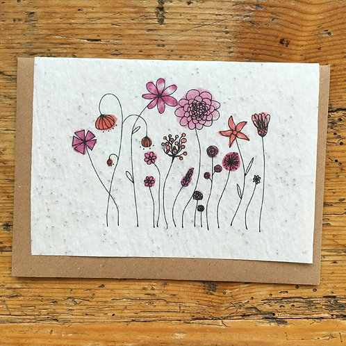 "Carte à planter ""Fleurs roses"""