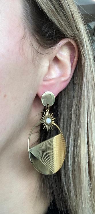 """Boucles d'oreilles """"Soleil rond""""blanc"""