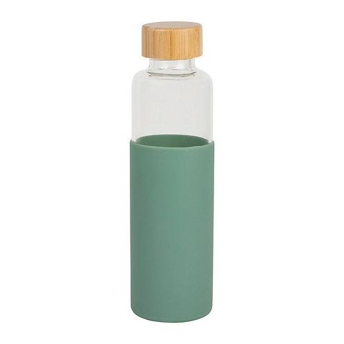 Bouteille isotherme en verre, vert d'eau