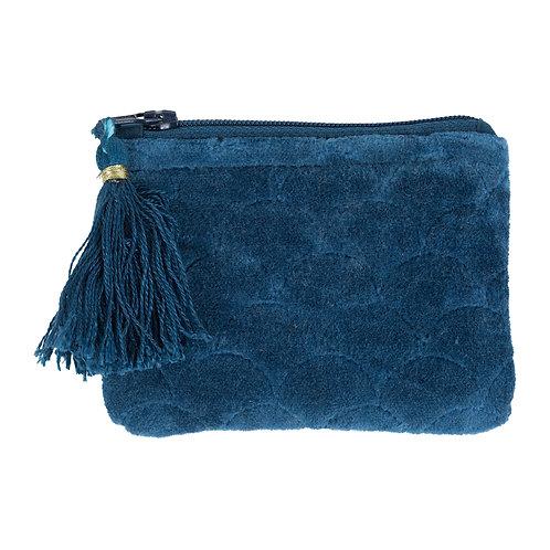 Porte monnaie velours bleu foncé