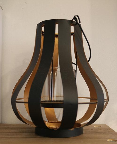Lanterne métal, noire et doré