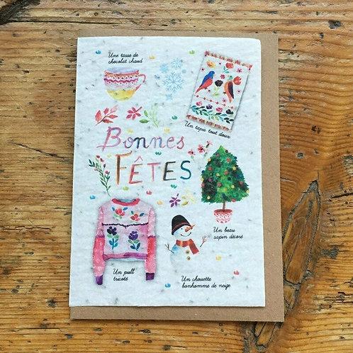 """Carte à planter """"Bonnes fêtes"""""""