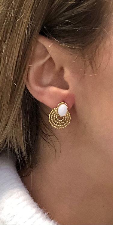 """Boucles d'oreilles """"Pierre"""" blanc"""
