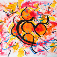 Orange/Yellow/Red/Blue Dancing Woman Abstract