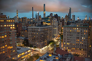 manhattan new york city buildings sunset uws