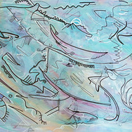 Yellow/Blue/Green/Pink/White with Black Lines Abstract