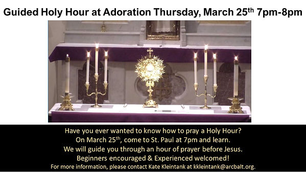 Guided Holy Hour at Adoration Thurs Mar