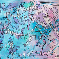 """Large """"Walking"""" - Blue/Green/Pink/White Abstract"""