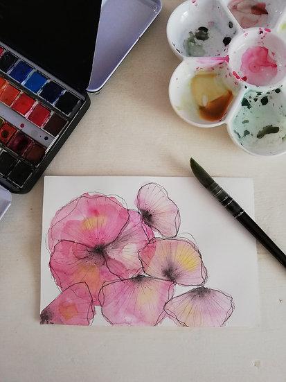 Aquarelle • Pensées roses