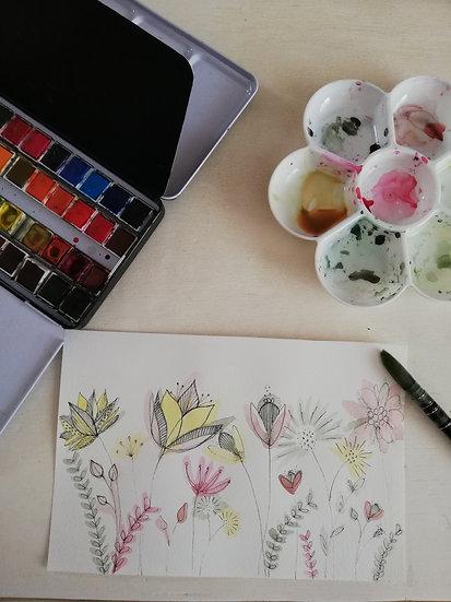 Aquarelle • Jardin fleuri