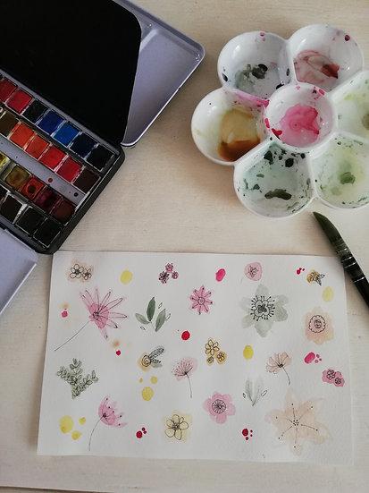 Aquarelle • Fleurs colorées