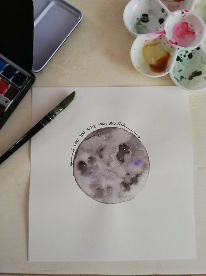 Aquarelle • I love you to the moon and back