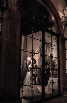 bride and groom shares a kiss at reception, Las Velas