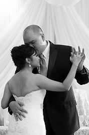 bride and groom shares first dance at Kim Son ballroom