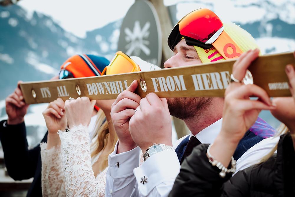 winter wedding shotski
