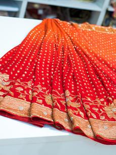 Shaded red saree