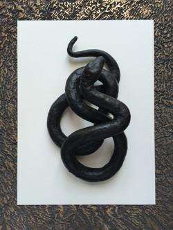 Cire poignée serpent bronze