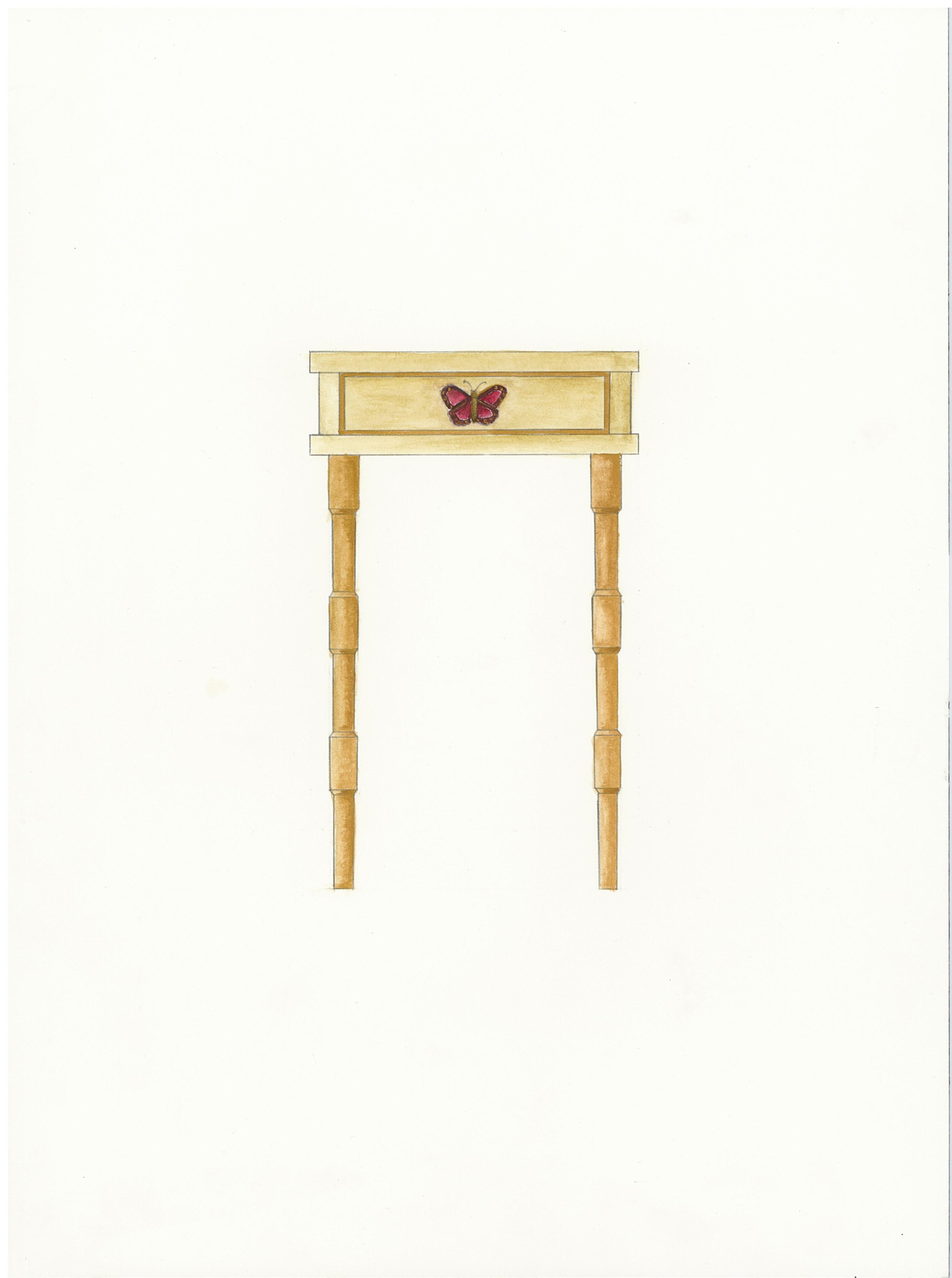 dessin peint meuble table chevet