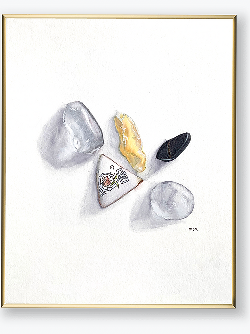 "Art Print - ""Crystals & Teacup Shard"""