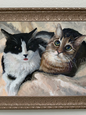 Portrait of Mojo and Babyshoes - Oil on Canvas Board