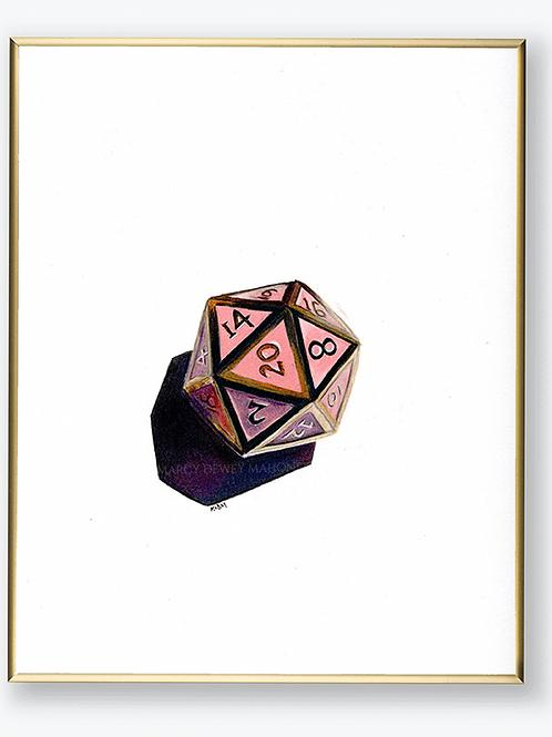 "Art Print - ""Pink Metal D20"""