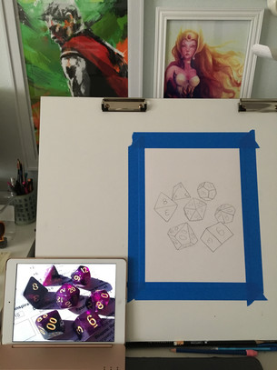 Purple Galaxy Dice Portrait Process
