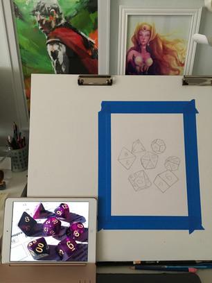 Purple Galaxy Dice Portrait Process