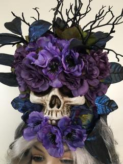 Purple Gothic Skull Wig Detail