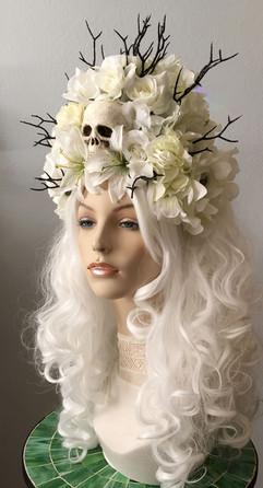 White Skull Floral Wig