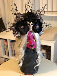 Skull and Flowers Wig Comission