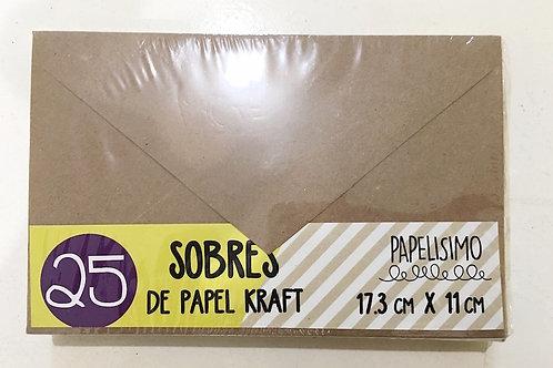 SOBRES KRAFT PARA CARTA C/25