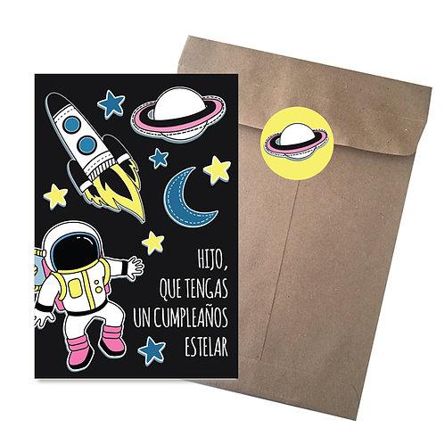 TARJETA GRANDE Astronauta CON SOBRE KRAFT Y STICKER 22cm x16cm 1PZ