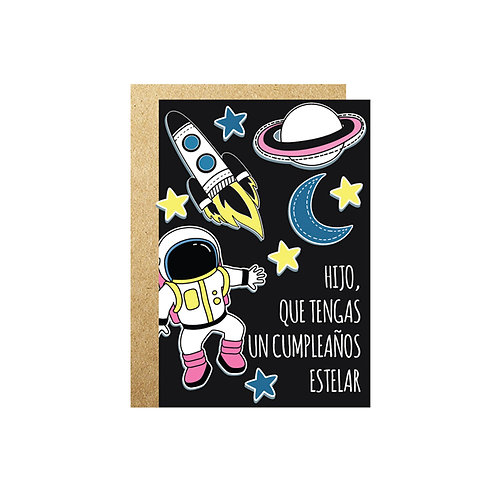 3PZ TARJETA Cumple Astronauta 16cm X 11cm CON SOBRE