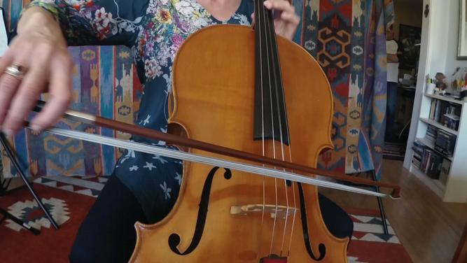 Peggy Baldwin on cello